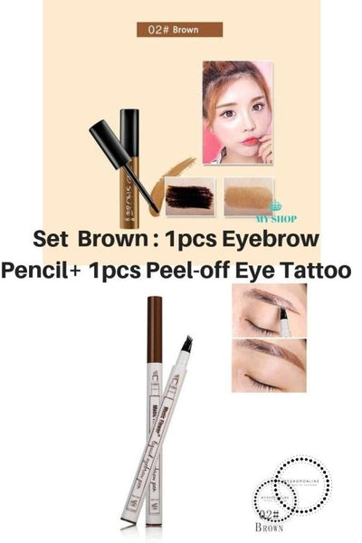 Set 2 Pcs Beauty Peel-Off Eye Brow Tattoo + Eyebrow Pencil Brown Cosmetic