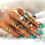 Sets Vintage Crystal Opal Knuckle Rings For Women Accesorios