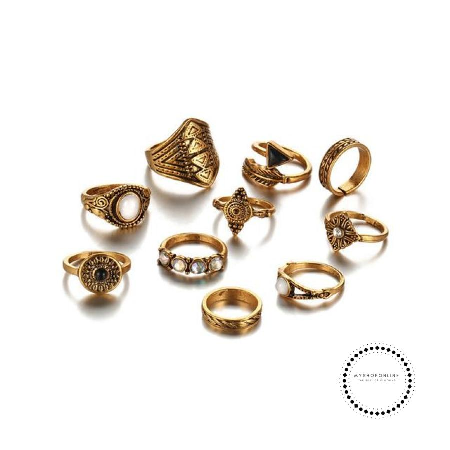 Sets Vintage Crystal Opal Knuckle Rings For Women Gold Color Accesorios