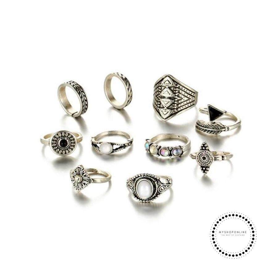 Sets Vintage Crystal Opal Knuckle Rings For Women Silver Color Accesorios