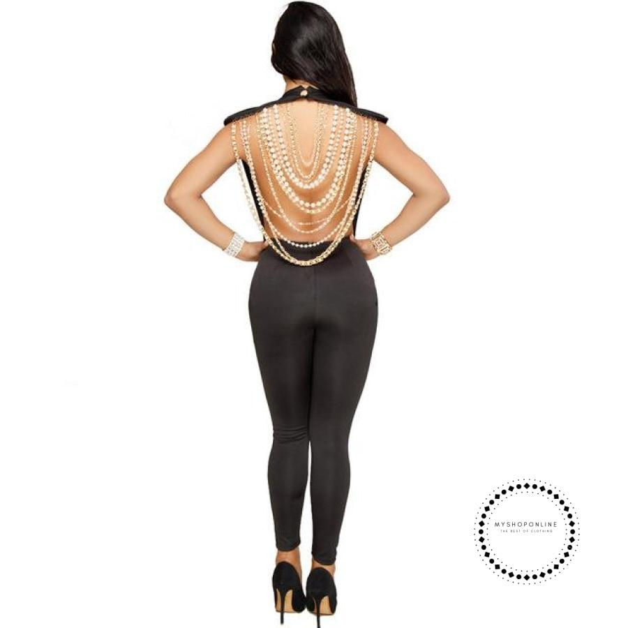 Sexy Women Pearl Chain Backless Jumpsuit O Neck Sleevelss Ladies Elegant Party Club Black / L