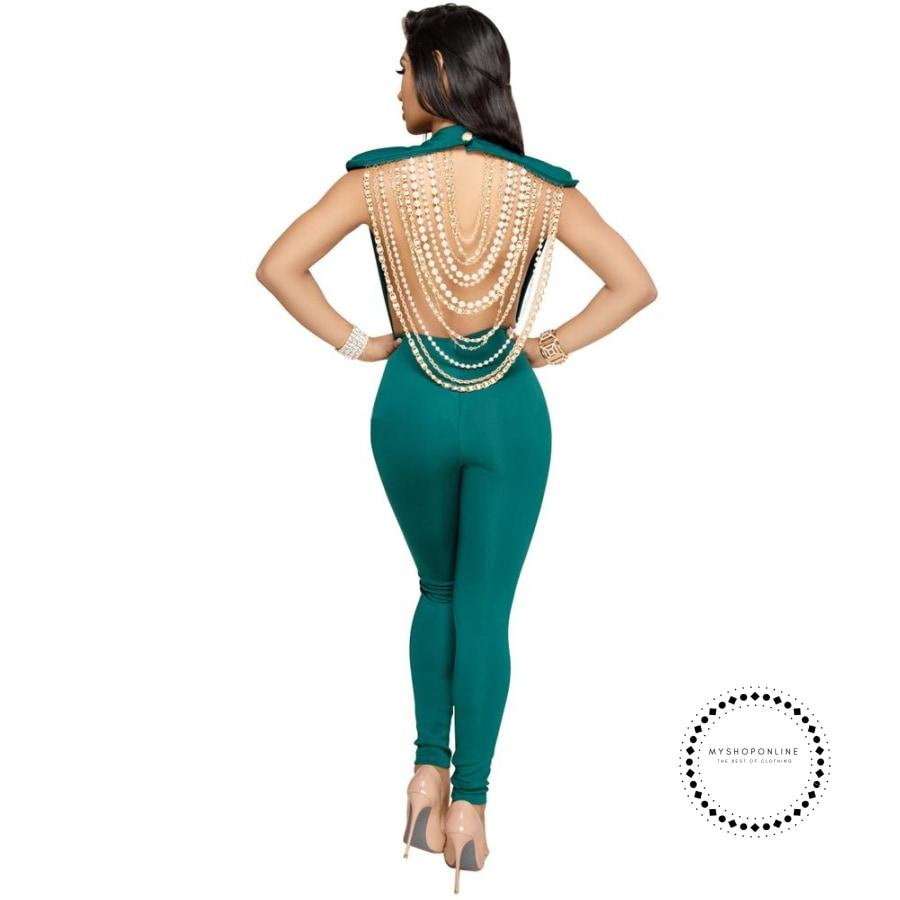 Sexy Women Pearl Chain Backless Jumpsuit O Neck Sleevelss Ladies Elegant Party Club
