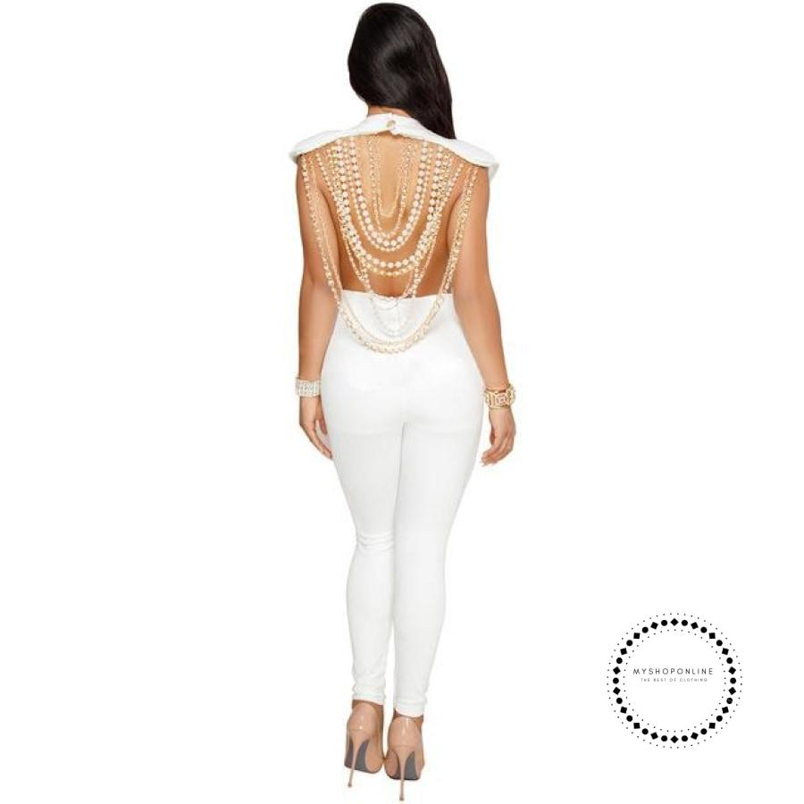 Sexy Women Pearl Chain Backless Jumpsuit O Neck Sleevelss Ladies Elegant Party Club White / L