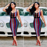 Sexy Women Summer Bandage Striped Dress Strap V-Neck Rainbow Bodycon Evening Party Club Blue / S