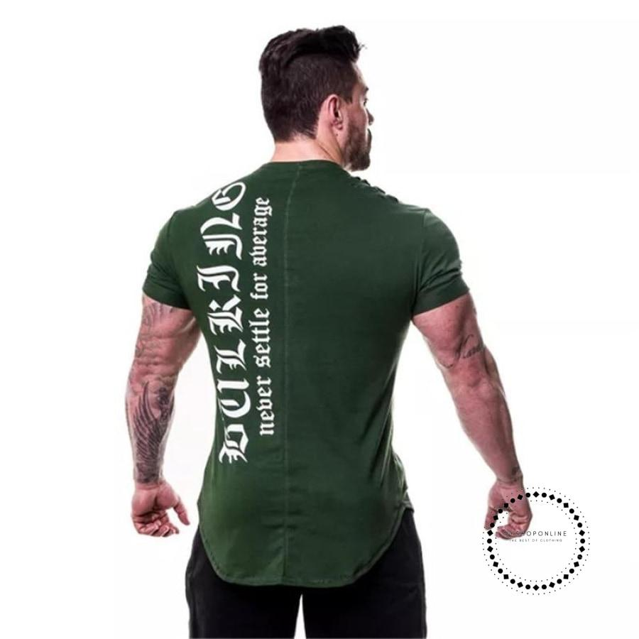 Shirt Men Fitness Tees Joggers T-Shirts Letter Printed Bodybuilding Tshirt Short Sleeve Workout