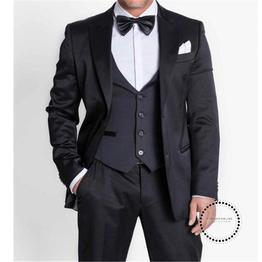 Slim Fit One Button Navy Blue Groom Tuxedos Shawl Lapel Suit Groomsman Men Wedding Suits (
