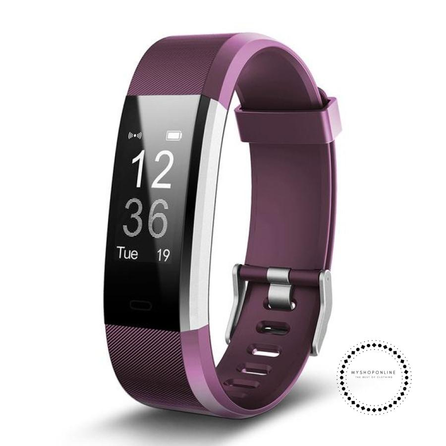 Smartband Fitness And Sleep Tracker Pedometer Heart Rate Monitor Purple / Usa Accesorios