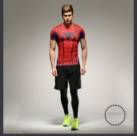 Spiderman 3D Printed T-Shirt Men Compression Fitness Clothing Funny T Shirt Tight Tops Tee Superhero