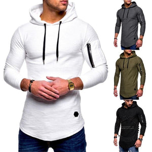 Sport Shirt Men Long Sleeve Hooded Running T-Shirt Joggers Fitness Top Sweatshirts Gym Workout T