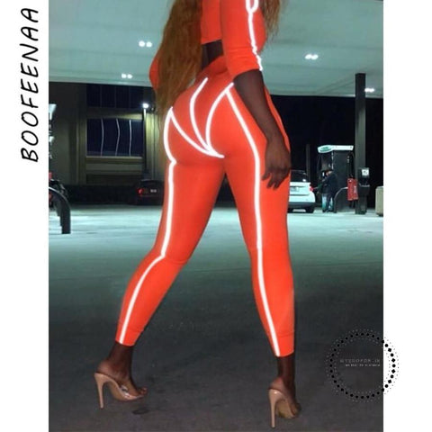 Spring/summer Reflective Patchwork Leggings Women Orange High Waist Workout Sweatpants Streetwear