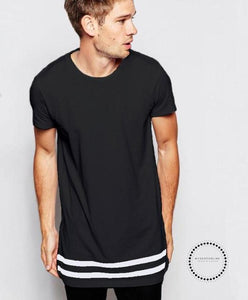Streetwear Men T Shirt Extended Longline Hipster Men Stripes Homme Long Line Black / S