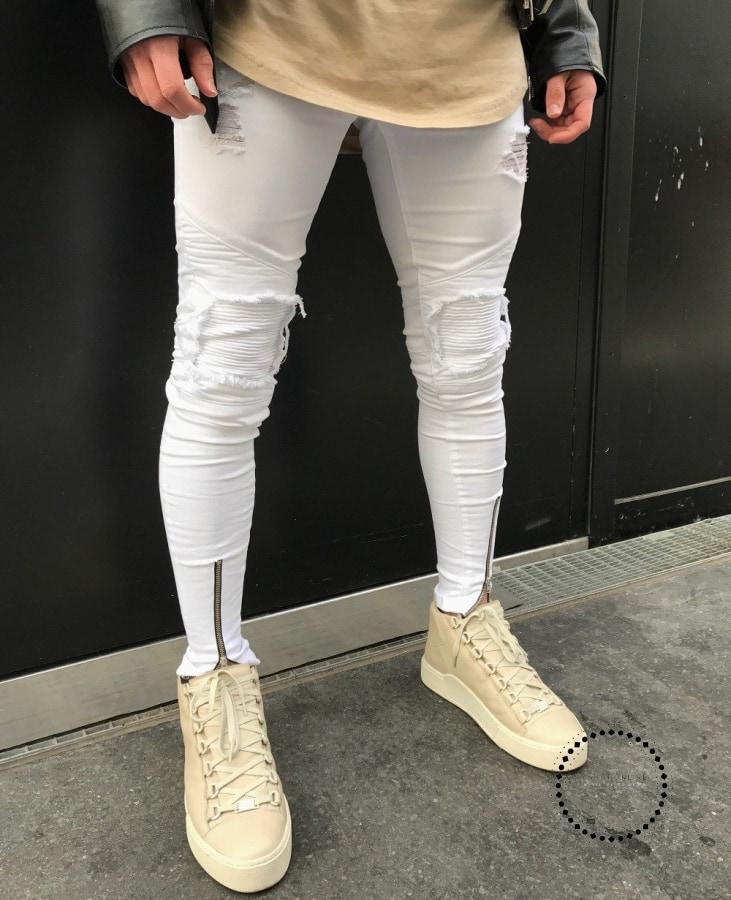 Stripe Ripped Jeans For Men Hip Hop Super Skinny Elastic White / 28 Accesorios
