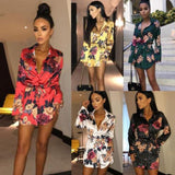 Summer Sexy Women Floral Long Sleeve Dress Lady Clubwear Evening Party Beach Accesorios