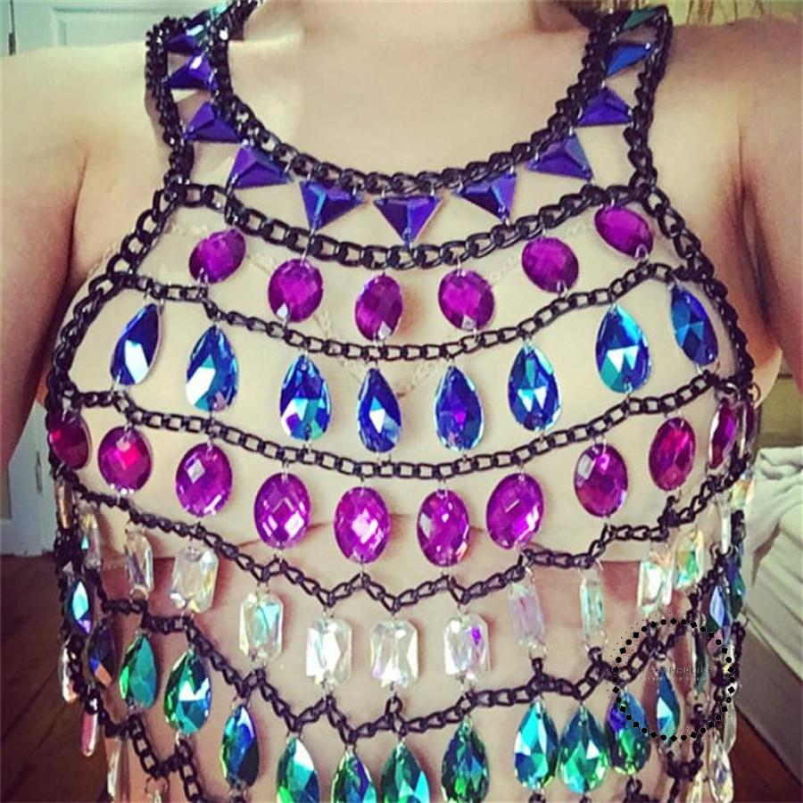 Summer Shiny Luxury Sexy Backless Handmade Hollow Out Mirror Beach Tank Top Metal Rhinestone Party