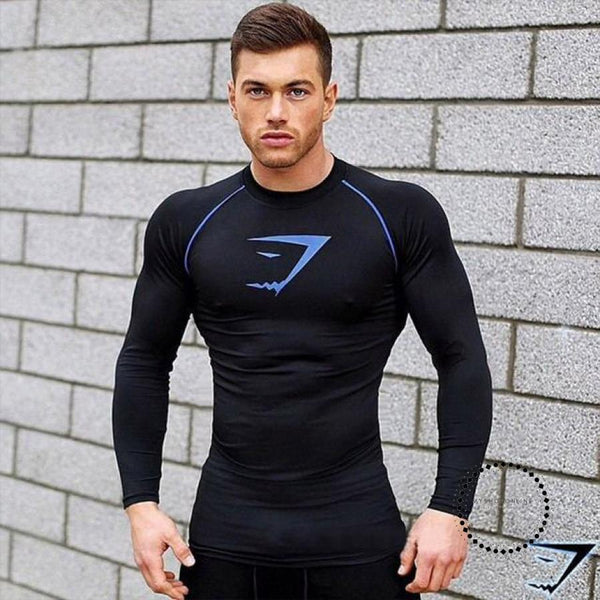 T Shirt Men Tights Fitness Thermal Bodybuilding Compression Black / M Accesorios