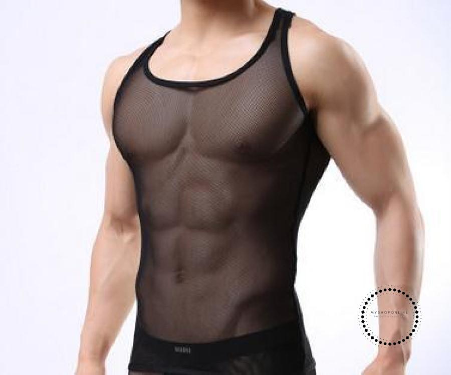Transparent Mesh O-Neck Sexy Mens T-Shirt Tank Tops Undershirt Breathable Summer Black / M