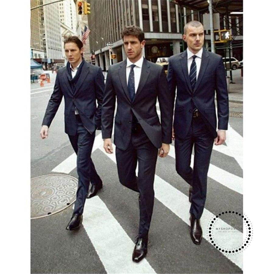 Tuxedos Slit Fit Men Suit Two Button Navy Blue Notched Lapel Jacket Formal Party Mens Suits 2 Pieces