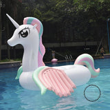 Unicorn Water Inflatable Bed Cartoon Animal Mount Rainbow Horse Pegasus Floating Row Float