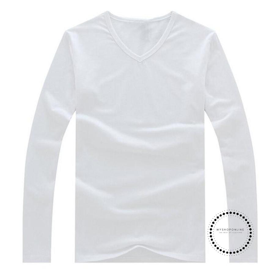 Waterproof Summer Solid Casual T Shirt Men O-Neck Long Sleeves Loose Tshirt White / M Accesorios