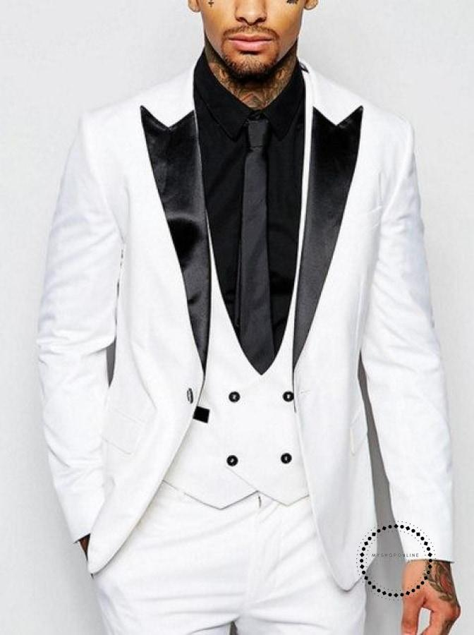 White Groom Tuxedos Peak Lapel Groomsmen Best Man Suit Men Wedding Suits Prom Party (Jacket+Pants