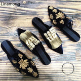 Women Flat Heels Sandals European Style Beading Decorated Home Slides Fur Slippers Slip On Sandalias
