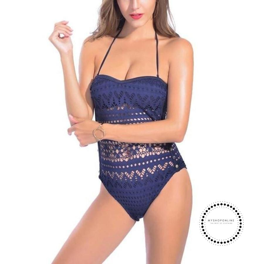Women Sexy Lace One Pieces Swimsuit Swimwear Hollow Monokini Black Bathing Suit Padded Swimming