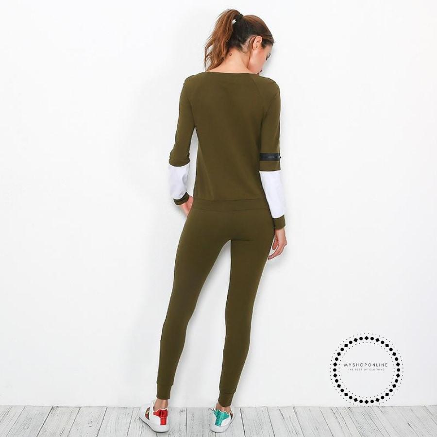 Women Warm Yoga Set Patchwork Sport Suit Female Top+Trouser Running Fitness Clothing Sweater+Pant
