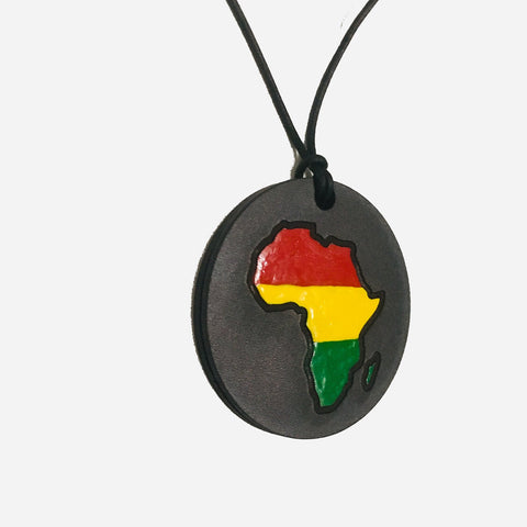 side view of 90s vintage african medallion leather necklace from myblackclothing.com