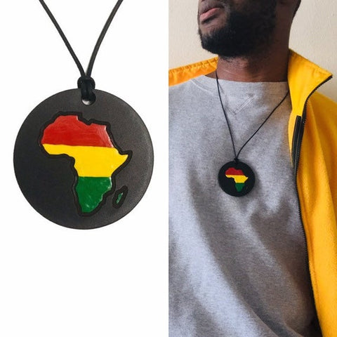 african leather medallion necklace