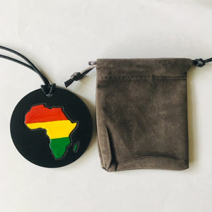 90s Retro Vintage Africa African Leather Medallion Necklace - My Black Clothing