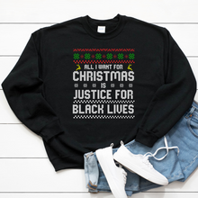 Load image into Gallery viewer, black lives matter sweater. shop for black owned holiday gifts. black owned christmas sweater and ugly christmas sweater