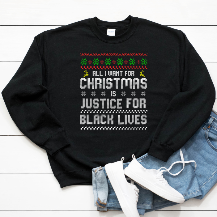 black lives matter sweater. shop for black owned holiday gifts. black owned christmas sweater and ugly christmas sweater