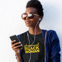 Load image into Gallery viewer, phenomenal woman shirt. phenomenal black woman. black owned. yellow shirt for black women