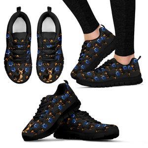 Blue Paws Dachshund Women's Sneakers