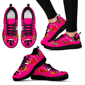 Pink Dogs Christmas Women's Sneakers