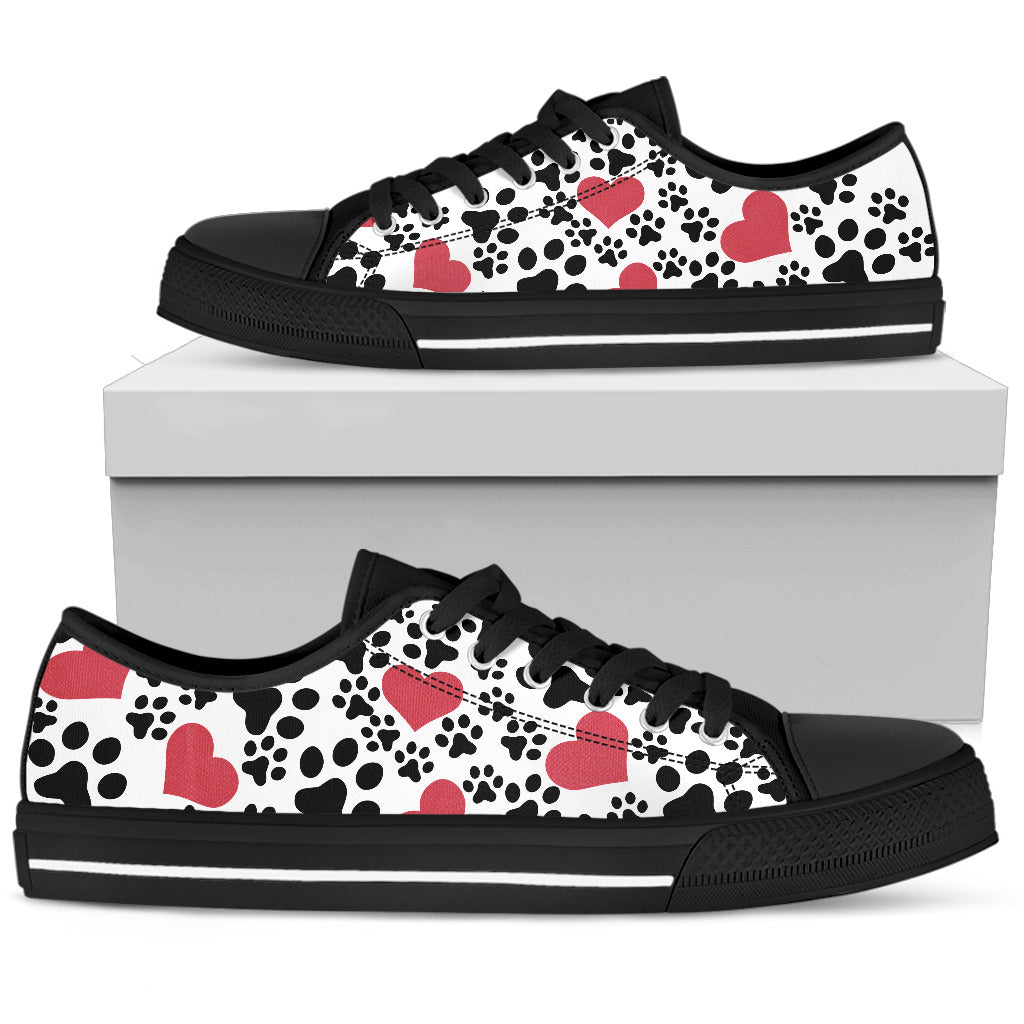 Hearts & Dog Paw Print Women's Sneakers - Black