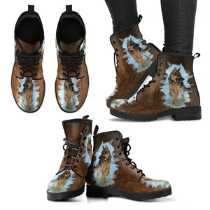 German Shepherd Women's Leather Boots