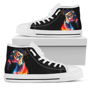 Colorful Dog Black Women's High Top Sneakers
