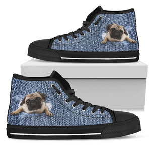 Pug Break The Wall Men's High Top Sneakers