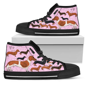 Bright Pink Dogs Women's High Top Sneakers