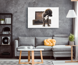 Puppy With Suitcase Canvas Wall Art
