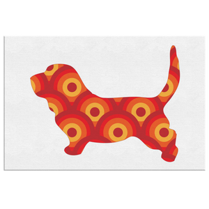Retro Circles Dog Canvas Wall Art
