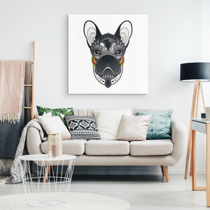 Stylized French Bulldog Canvas Wall Art