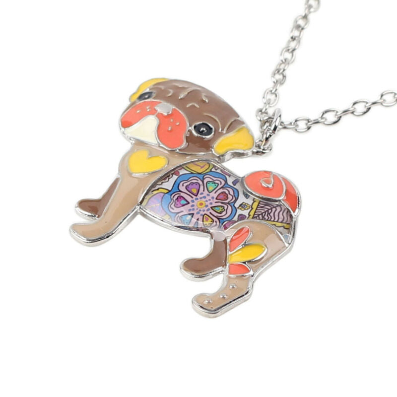 Enamel Pug Pendant Necklace