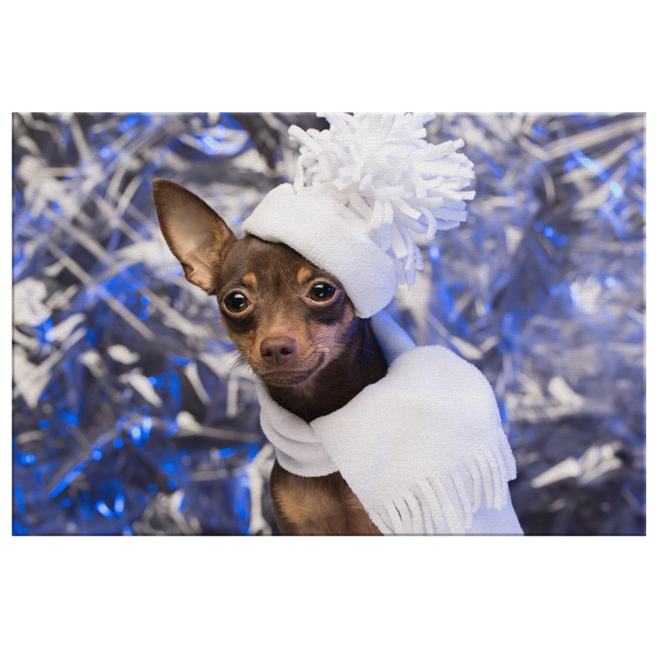 Winter Chihuahua Canvas Wall Art