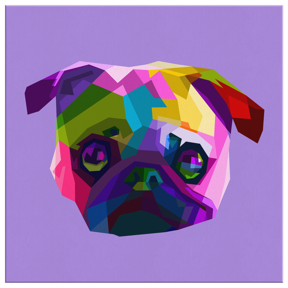Purple Pug Canvas Wall Art