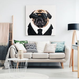 Pug In Black Canvas Wall Art