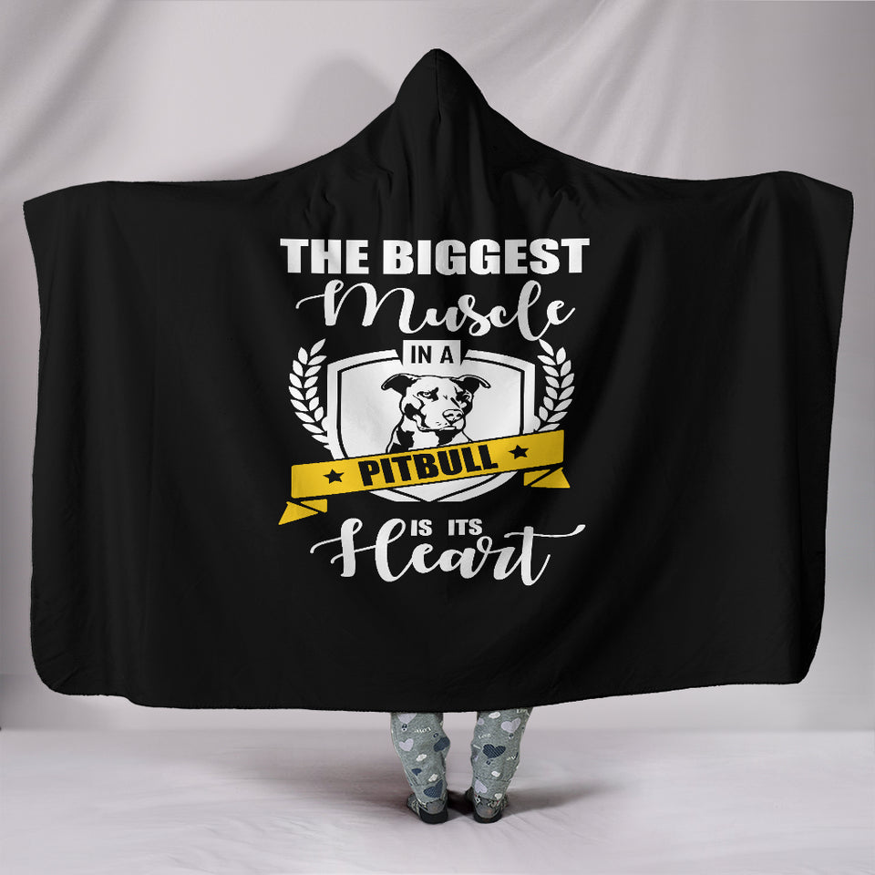 Pit Bull Heart Hooded Blanket