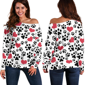 Off The Shoulder Hearts & Dog Paw Print Women's Sweater