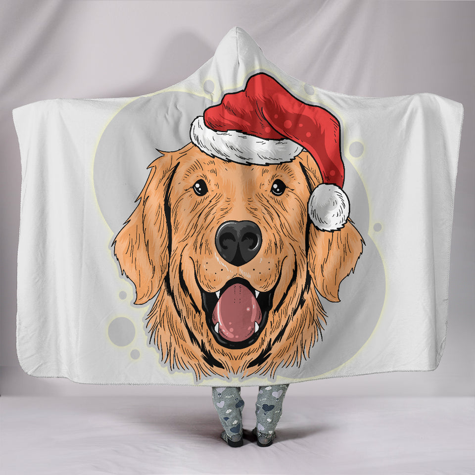 Santa Golden Retriever Hooded Blanket